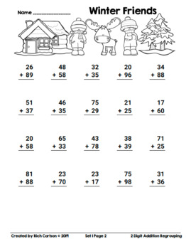 Winter Friends 2 Digit Addition Regrouping! Winter Math FUN! (Black Line)