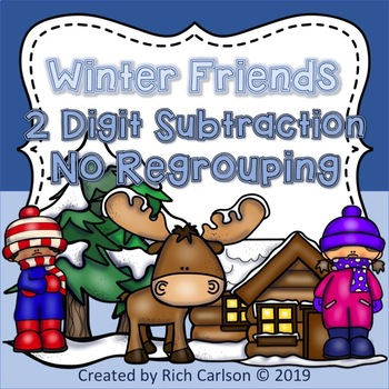 Winter Friends 2 Digit Subtraction No Regrouping! Winter FUN! (Black Line)