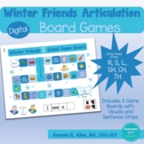 Winter Friends Articulation Game Boards: R, L, S, TH, SH, CH