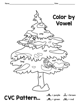 Winter Friends CVC Word Color By Vowel Coloring Pages