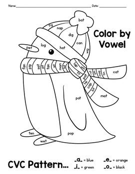 Winter Activity CVC Word Color By Vowel Coloring Pages by ...