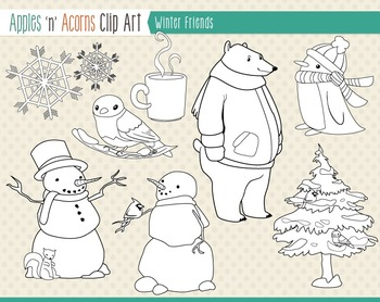 Winter Friends Clip Art - color and outlines
