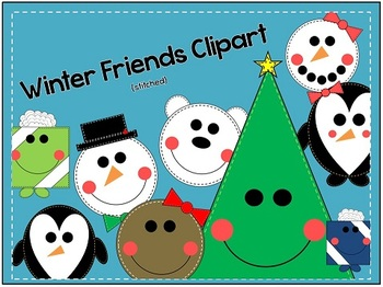 Winter Friends Clipart {stitched}