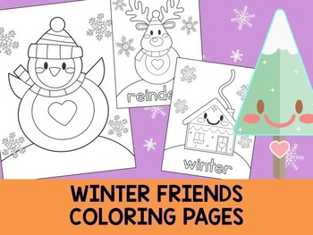 Winter Friends Coloring Pages - The Crayon Crowd, penguin, tree