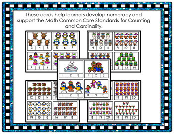 Winter Friends Counting Clip Cards 1-20