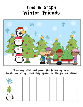 Winter Friends Find & Graph Activity (3 Total)
