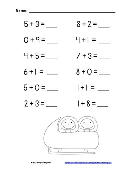 Winter Friends Fun and Games Addition Practice Packet (Sums of 0 to 10)