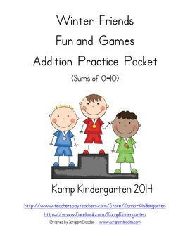 Winter Friends Fun and Games Addition Practice Packet (Sum