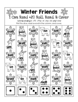 Winter Friends - I Can Read It! Roll, Read, and Cover (Lesson 20)
