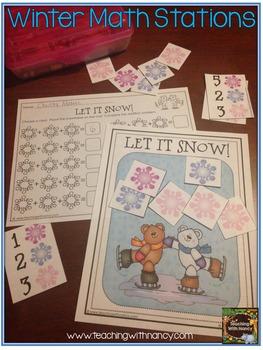 Winter Friends Kindergarten Math Stations