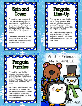 Winter Friends Math BUNDLE - Addition, Subtraction, and Numbers to 20