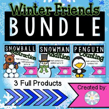 Winter Friends Math BUNDLE - Addition, Subtraction, and Nu