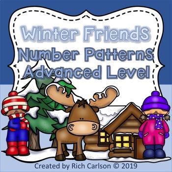 Winter Friends Number Patterns Advanced Level! Winter FUN (Black Line)
