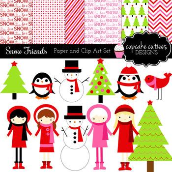 Winter Friends Snow Digital Clip Art Set