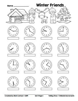 Winter Friends Telling Time 5 Minute Increments! Winter Time FUN! (Black Line)