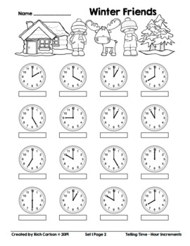 Winter Friends Telling Time Hour Increments! Winter Time FUN! (Black Line)