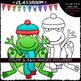 Winter Frogs - Clip Art & B&W Set