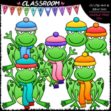 Winter Frogs - Clip Art & B&W Set
