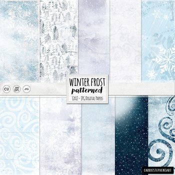 Winter Frost Digital Papers, Frozen Winter Moon, Cold Icey Snow, Blue, Lavender