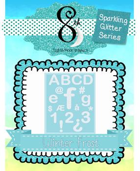 Sparkling White Glitter Letter and Number Clip Art