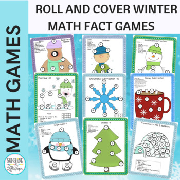 Winter Activities Math Dice Games for Addition and Subtraction