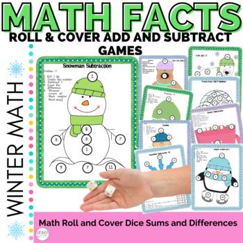 Math Computation:  Winter Frozen Facts Dice Games for Addi