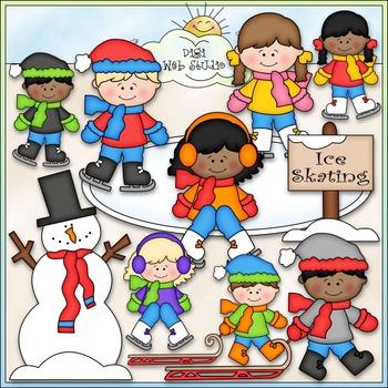 Winter Fun Clip Art - Winter Kids Clip Art - CU Clip Art & B&W