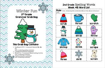 Winter Fun 2nd Grade Grammar Grab Bag #18