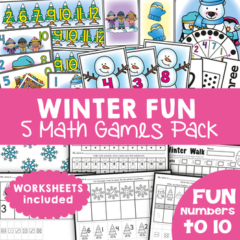 Winter Fun - 5 Math Center Games for Numbers to 10