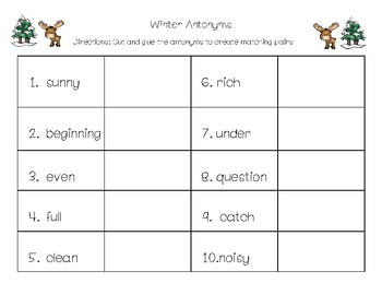 Winter Antonym, Synonym, Homonyms  Bundle