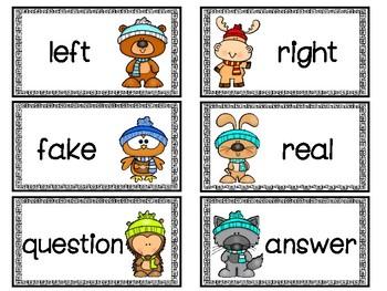 Winter Antonyms Matching & Worksheets