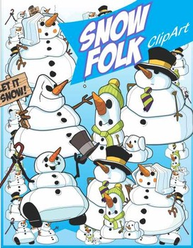 Winter Fun Assorted Snowman Themed Activity Clip Art Pack
