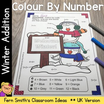 Color By Numbers Winter Math Addition Facts UK Version