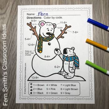Winter Color By Number Addition and Subtraction Bundle