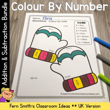 Colour By Numbers Winter Math Addition and Subtraction UK Version