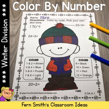 Color By Numbers Winter Math Division
