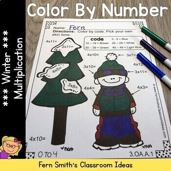Color By Numbers Winter Math Multiplication