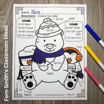 Colour By Numbers Winter Math Multiplication UK Version