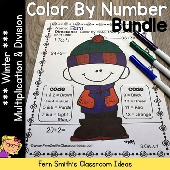 Color By Numbers Winter Math Multiplication and Division Bundle