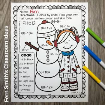 Colour By Numbers Winter Math Multiplication and Division UK Version