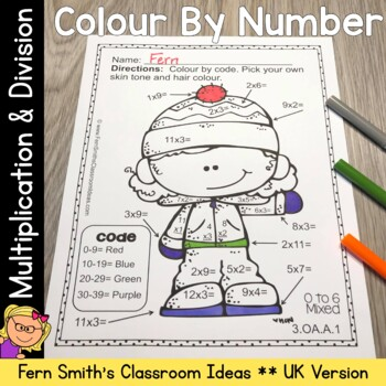 Colour By Numbers Winter Math Multiplication and Division