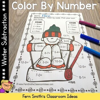 Winter Color By Number Subtraction
