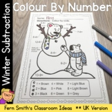 Color By Numbers Winter Math Subtraction Facts UK Version