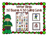 Winter Fun Bingo 5x5 Boards 30 Unique Cards Classroom Party Game