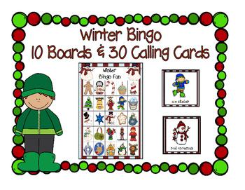Winter Fun Bingo Game 5x5 Boards 10 Unique Boards & Calling Cards