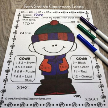 Color By Numbers Winter Addition Subtraction Multiplication Division Bundle