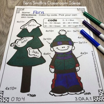 Winter Color By Number Addition Subtraction Multiplication and Division Bundle