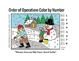 Snowman Winter Color by Number - PEMDAS Order of Operations ex. 2(5-1)/(1+1)=X