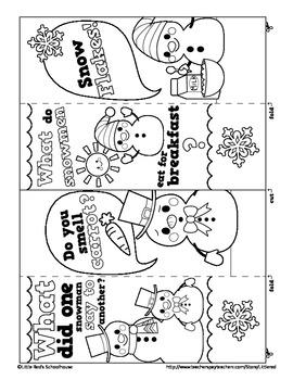 Winter Fun Color-in Joke Bookmarks