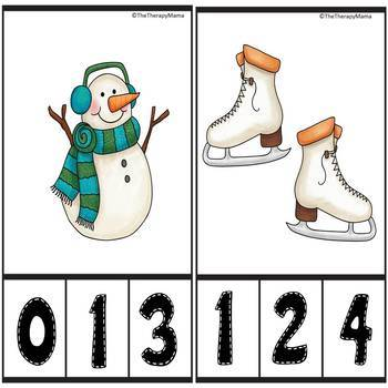 Winter Fun Count and Clip Number Cards